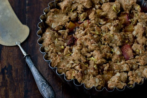 Plum and Peach Crisp. SIL subbed applesauce for yogurt and it was so good!