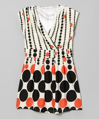 This Red Geometric Surplice Dress - Girls is perfect! #zulilyfinds