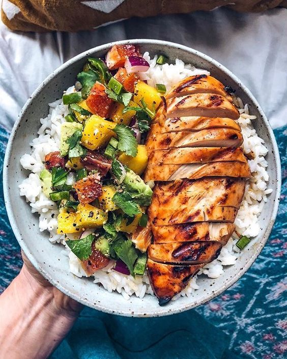 Mango Barbecue Chicken with Mango Salsa and Rice