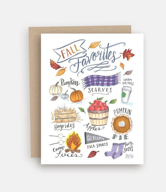 Fall Favorites Notecard - Fall Greeting Card - Just Because Card - Hand Lettering - Illustrated Art