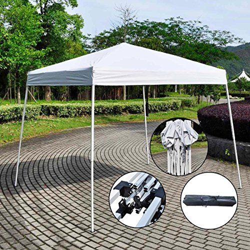 "NEW 10'X10' EZ POP UP Wedding Party Tent Folding Gazebo Beach Canopy W/Carry Bag. Great Quality at a fraction of the price!. Lightweight and portable, Blocks up to 99% of UV rays. Shelter Sets Up in Seconds with All-In-One White, Powder-Coated Rust Resistant Steel Frame. Envoy Shelter Features Cathedral Ceiling for More Headroom and its Silver Coated UV Canopy Top Meets CPAI-84 Fire Resistant Requirements. Base 10'X10', (H) 8.5"" see picture for details."