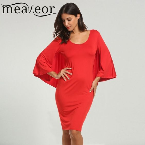 Meaneor Brand  Bodycon Dress Women Casual Flare Sleeve Package Hip Dress Soli