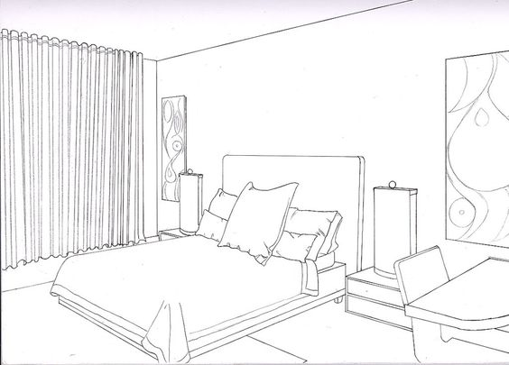Adorable 80 interior room drawing inspiration design of for Bedroom designs drawing