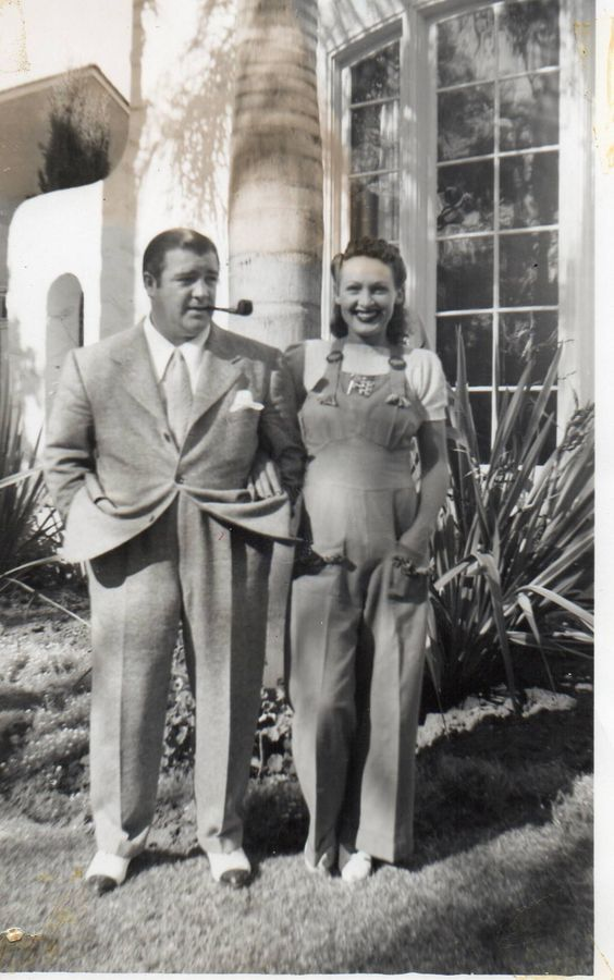 Lou Costello and wide Annie wearing her overalls