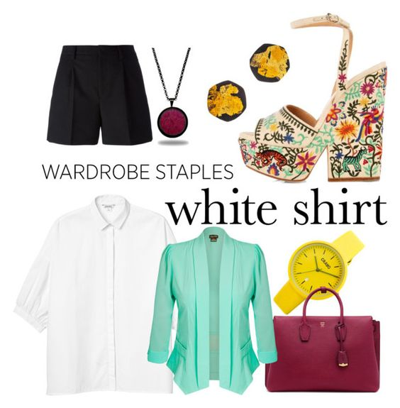 """""""'TheWhiteShirt'"""" by theimaginator on Polyvore featuring Crayo, MCM, Sergio Rossi, Monki, City Chic, Yves Saint Laurent, Be-Jewelled and Marlin Birna"""