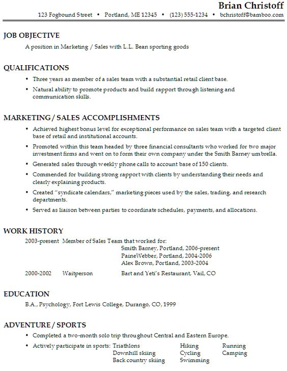 Sample Resume For A Restaurant Job -    wwwresumecareerinfo - sample resume for marketing