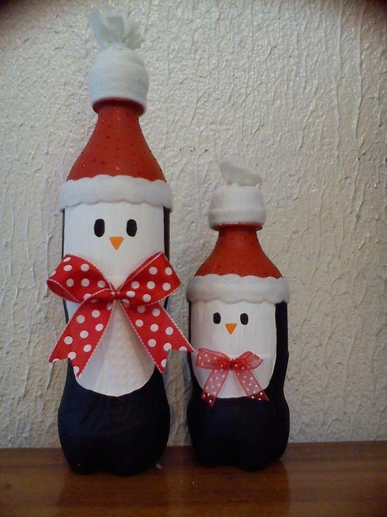 Botellas degaseosa pintadas y decoradas para esta navidad for Decoraciones de botes de plastico