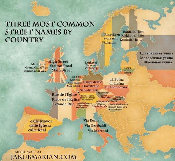 most common street names by country ^^