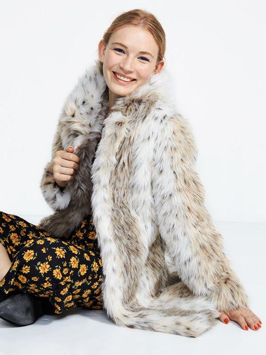 White Leopard Print Fur Coat, Snow Leopard Fake Fur Coat
