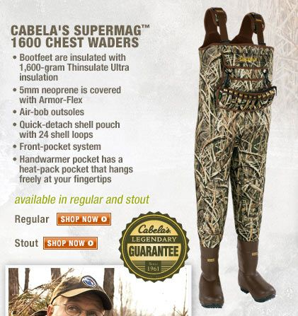 Cabela 39 s supermag 1600 waders cabela 39 s duck hunting for Cabelas fishing waders