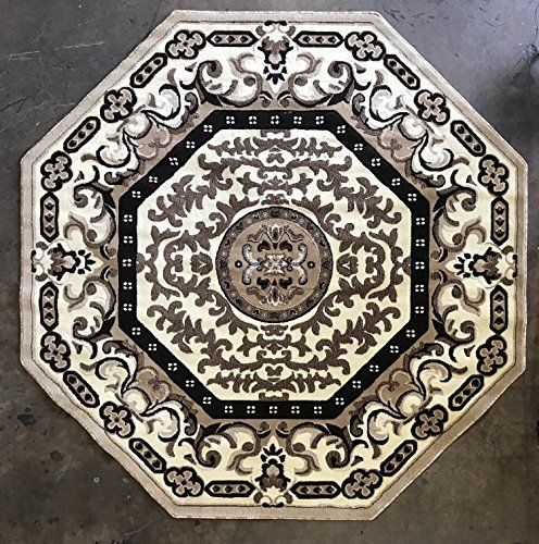 Traditional Octagon Persian Area Rug Ivory Americana Design 101 4 Feet X 4 Feet Persian Area Rugs Area Rugs Octagon Area Rugs