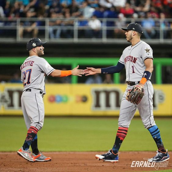 Love Them Astros Love Them Socks Altuve Correa Mlb All Star Game 7 11 2017 Astros Baseball Baseball Camp Baseball Scores