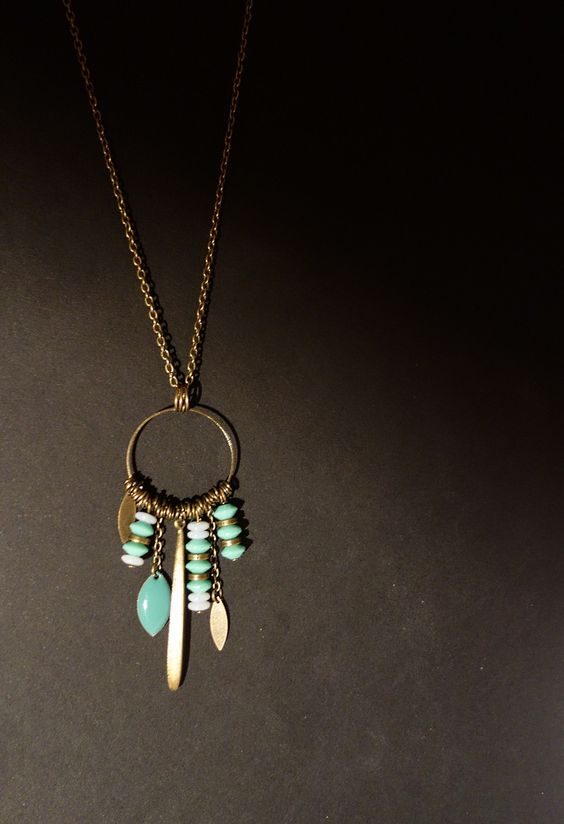 "Sautoir ""Attrapes rêves"" bronze et bleu : Collier par home-made-fabrik-"