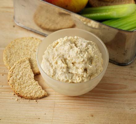 Healthy Houmous    Ingredients  1 x 400g can chickpea , don't drain  1 tbsp tahini paste  1 fat garlic clove , chopped  3 tbsp 0% fat Greek yogurt  good squeeze lemon juice