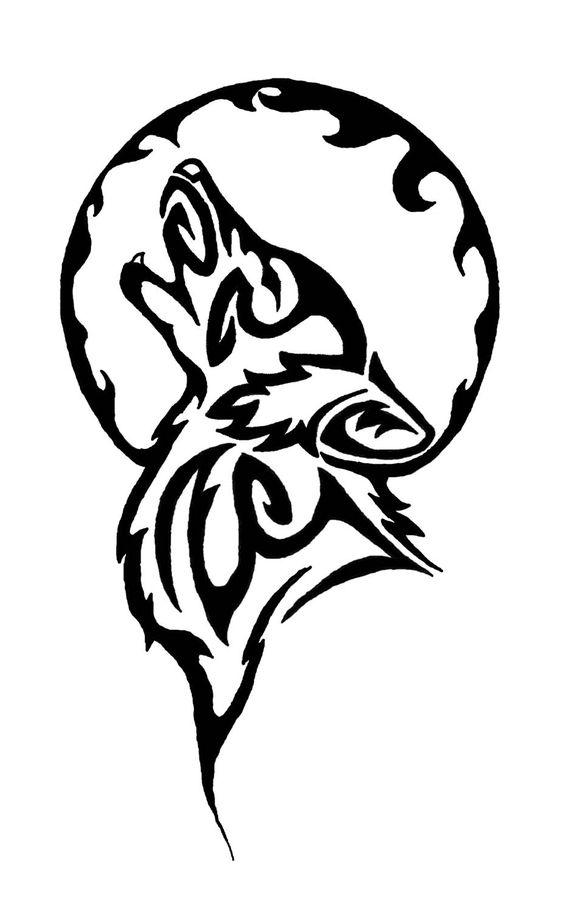 Tribal Wolf Tattoo   Tribal Moon and Wolf Tattoo Design   tattoo ...