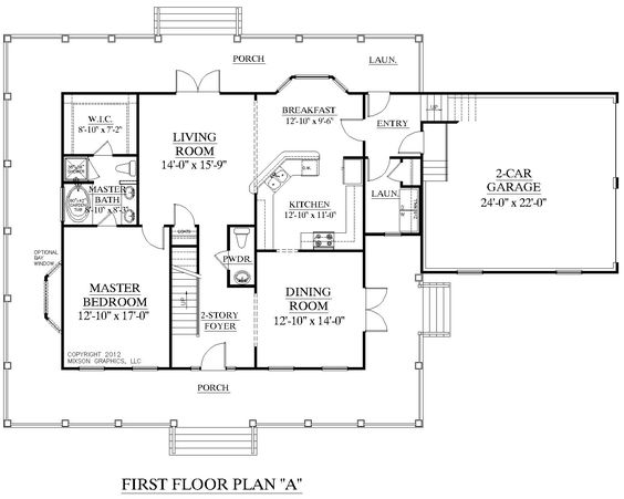 House plan 2341 a montgomery a first floor plan for 2 story house plans master bedroom downstairs