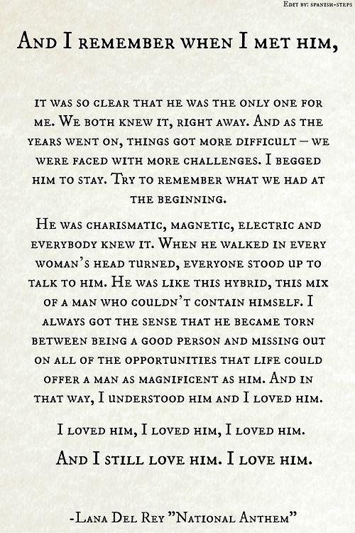 Jackie Kennedy Onassis on her undying love for JFK .   Lyrics : National Anthem by  Lana Del Rey