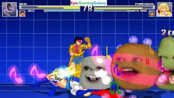 The Annoying Orange And Power Girl VS Mew The Pokemon And Jubilee In A MUGEN Match / Battle / Fight This video showcases Gameplay of The Annoying Orange And Power Girl The Superheroine VS Mew The Legendary Pokemon And Jubilee The Member Of The X-Men In A MUGEN Match / Battle / Fight