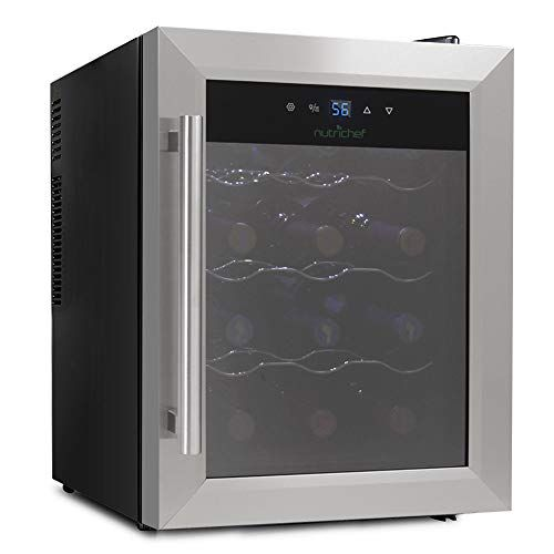 Nutrichef 12 Bottle Thermoelectric Wine Cooler Chiller Counter Top Red And White Wine Cellar Freestanding Refrigerator Quiet Operation Fridge Thermoelectric Wine Cooler Stainless Steel Fridge Wine Cooler