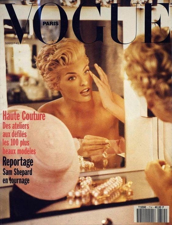 Linda Evangelista en couverture du numéro de mars 1991de Vogue Parishttp://www.vogue.fr/thevoguelist/linda-evangelista/47