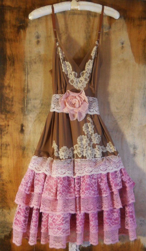 Pink lace dress brown cream ruffle cupcake tulle tutu fairytale rose  vintage   romantic medium   by vintage opulence on Etsy. $150.00, via Etsy.