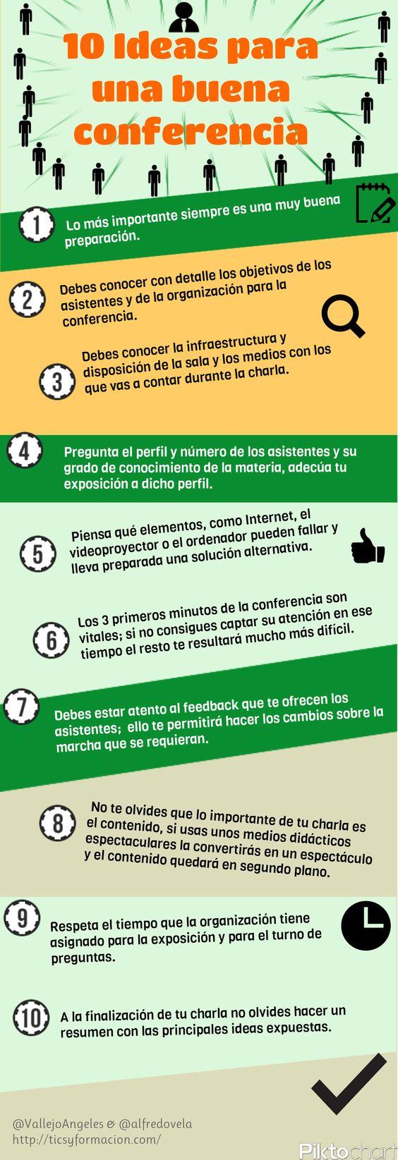 10 ideas para una buena conferencia #infografia #infographic #education