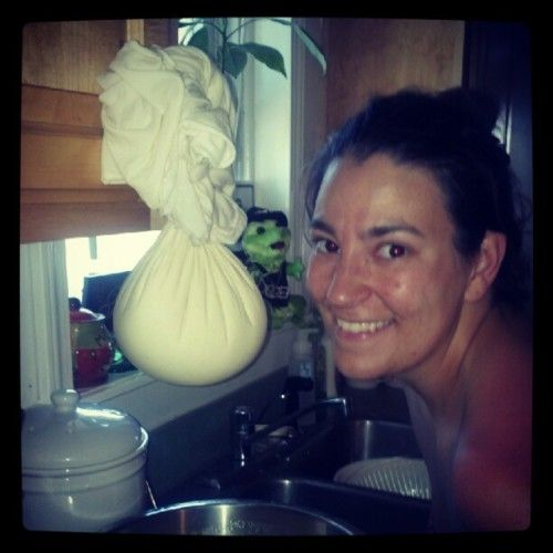 Making fresh cheese from raw milk. (Taken with instagram)