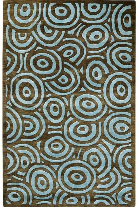 Echo I Contemporary Area rugs.  aqua and brown circles on circles.