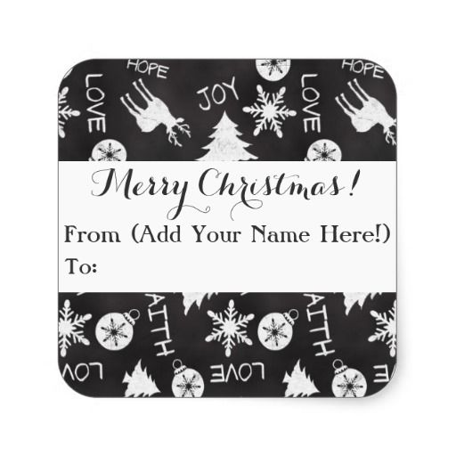 Customizable Chalkboard Christmas Pattern Holiday Gift Tag, Custom Printed stickers #christmas2014 #christmas #chalkboard