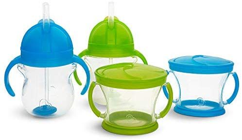 Amazon Com Munchkin Happy Snacker Snack Catcher And Sippy Cup Set 4 Count Blue Green Baby Toddler Meals Toddler Eating Feeding Toddlers