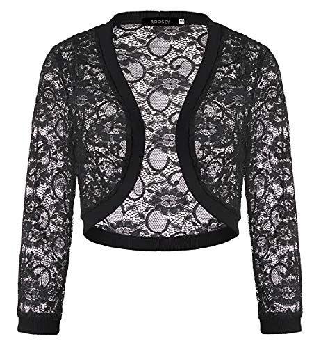 New Womens 3//4 Sleeve Tops  Shrugs Crochet Cardigan Tops