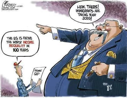 This cartoon nails it. The Robber Barons and their conservative lapdogs constantly try to distract people from their theft of wages by blaming immigrants, unions, women, people on public assistance, or whoever they can. Let's just ignore the worst wealth inequality in the developed world now shall we?: