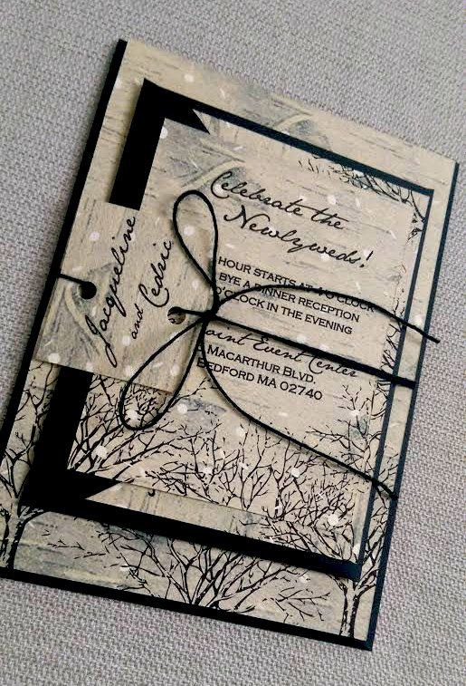 Winter Wedding Invitation Suite Birch Trees Snow Black