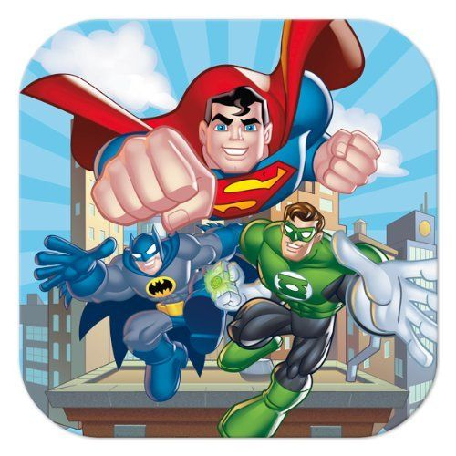 """DC Super Friends Birthday Party 7.5"""" Square Dessert Cake Paper Plates - 8 per package:Amazon:Toys & Games"""