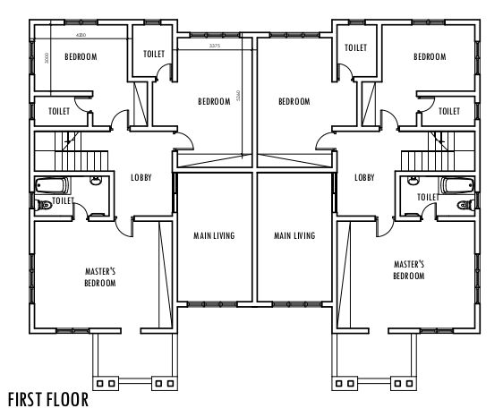 4 bedroom semi detached duplex first floor plan duplex for Semi detached house plans