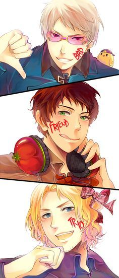 Hetalia Bad Touch Trio~ Francis doesn't look amused.>>> but they ...