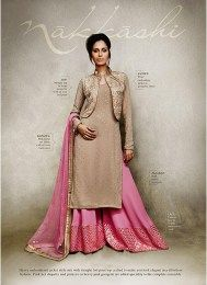 Beige Color Latest Nakkashi Palazzo Suit With Beautiful Embroidery Work Giving It A High Opulent Look