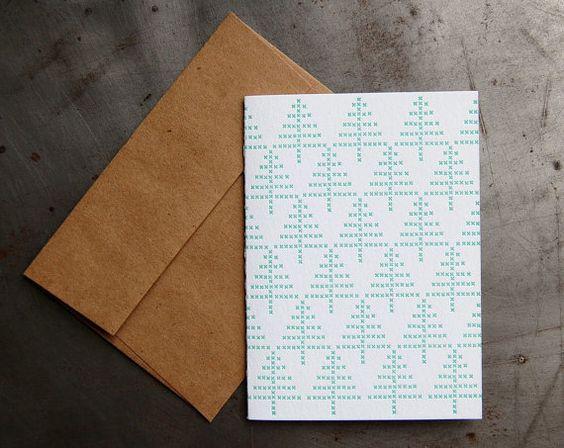 tree letterpress cross stitch cards $15
