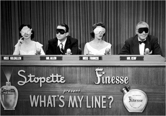 """From left to right, celebrity panelists Dorothy Kilgallen, Steve Allen, Arlene Francis, and Bennett Cerf sit blindfolded for a 1952 episode of the TV game show, """"What's My Line?"""" GSN, the cable network, is showing the episodes in a 3 to 4 a.m. block called """"Black and White Overnight."""""""