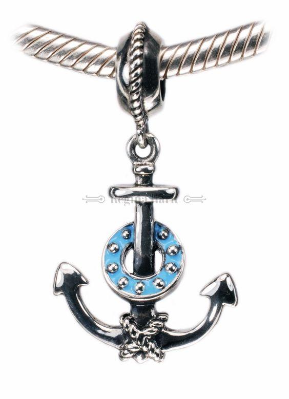 Âncora náutica, berloque em prata maciça