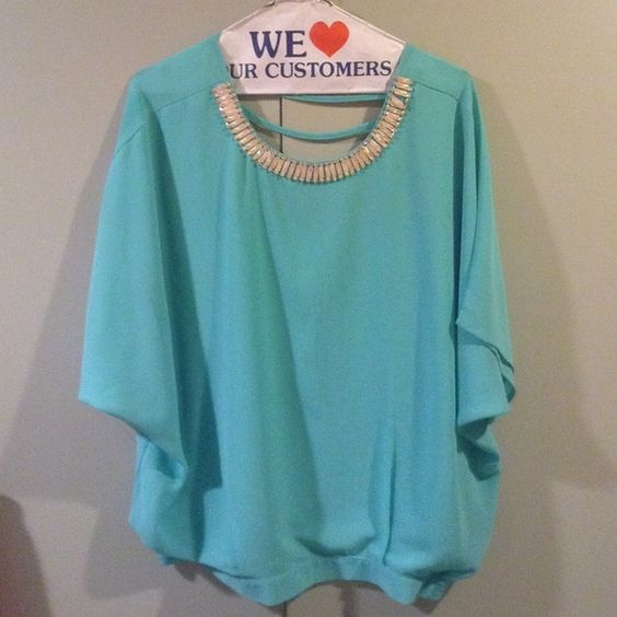 Blouse Tiffany blue flowing blouse Tops Blouses