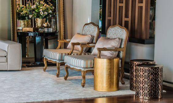 """Destaque tendências design de móveis do tom dourado no ambiente by Orlane Santos no blog da Espaço e Forma """"6 tendências de design de móveis para seguir"""" (www.espacoeforma.com.br/blog/2015/10/29/6-tendencias-de-design-de-moveis-para-seguir/) #orlanesantos#douradoemalta #espacoeforma #decor #tendencias #ficaadica #decoração #decorhome"""