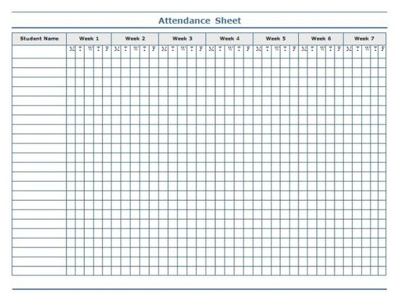 Minimalist Template of Weekly Attendance Sheet in Excel for - monthly attendance sheet template excel