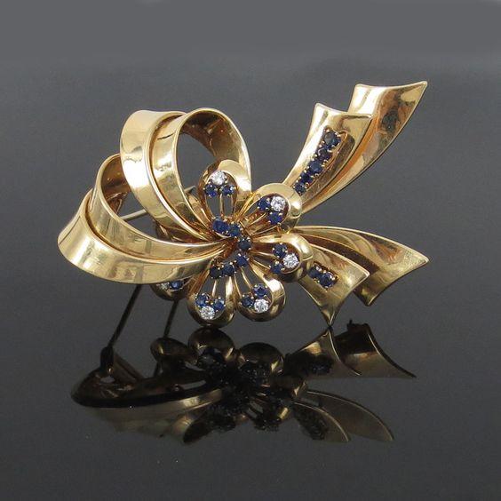 Vintage Tiffany & Co Diamond & Sapphire 14K Gold Ribbon Brooch #TiffanyCo