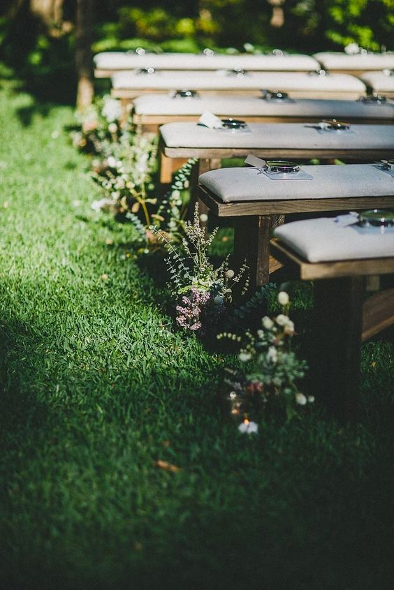 We opted for wooden benches for the ceremony and lined the for Flower bench ideas