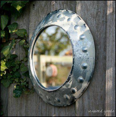 Small Vintage Style Rustic Metal Porthole Mirror - Garden or Bathroom Mirror