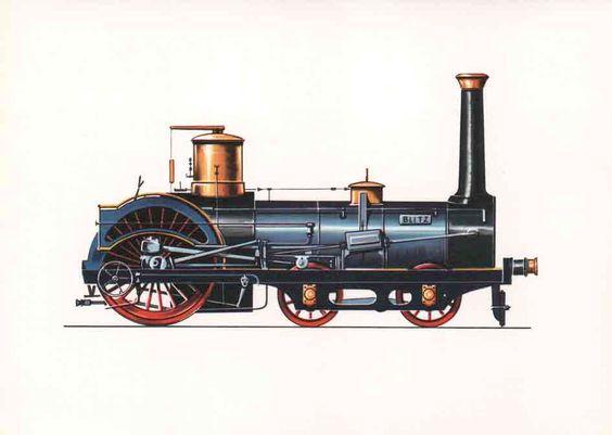 """Schnellzuglokomotive """"Blitz"""" (1857) Im Jahre 1857 erhielt die Magdeburg-Leipziger Eisenbahn die ersten vier Schnellzug-Lokomotiven der Crampton-Bauart. Diese stammten aus der Maschinenfabrik Karlsruhe, wurden jedoch bereits nach 14 bzw. 16 Jahren (1871-1873) wieder ausgemustert."""