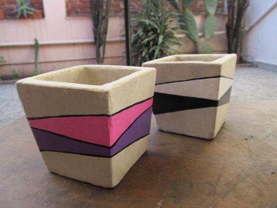 Macetas de cemento pintadas a mano | Feria Central
