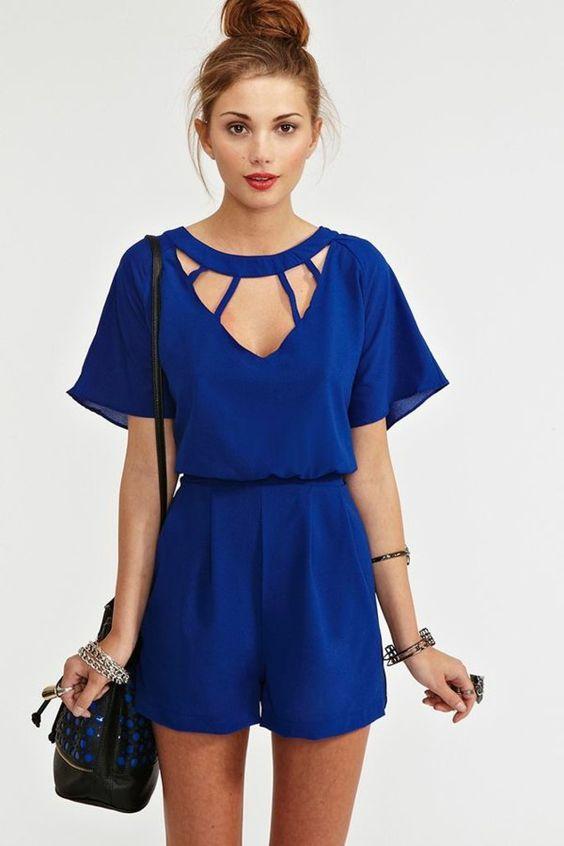 un combinaison bleu, femme, mode, tendance de l'été 2015