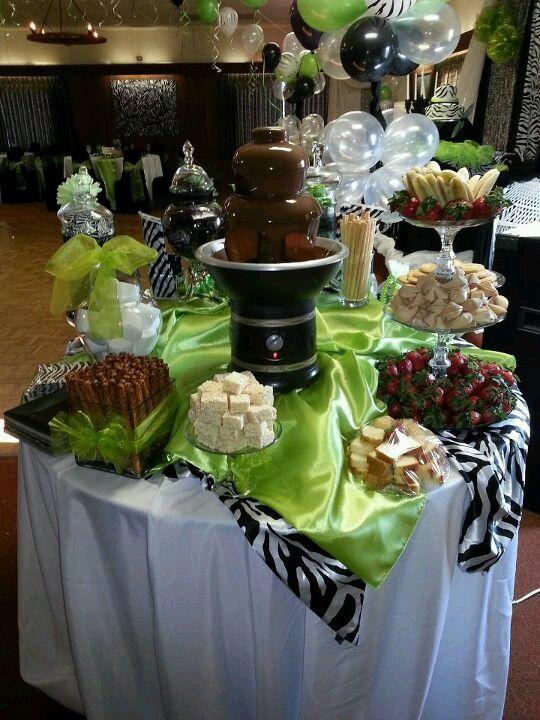 Candy buffet chocolate fondue fountain